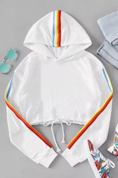 Trendy Abstract Art Womens Printed Cropped Hoodie Sweatshirt