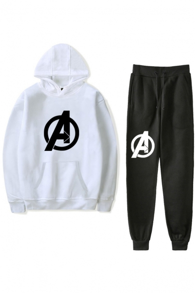 Letter A Logo Pattern Hoodie with Drawstring Waist Sport Joggers