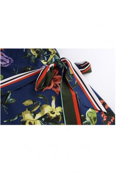 Hot Sale Off The Shoulder Short Sleeve Floral Printed Bow-Tied Waist Split Side Midi A-Line Dress