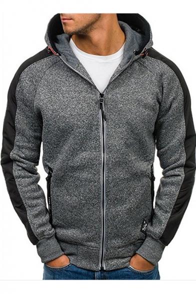 Men's Hot Fashion Simple Plain Colorblock Long Sleeve Zip Up Hoodie