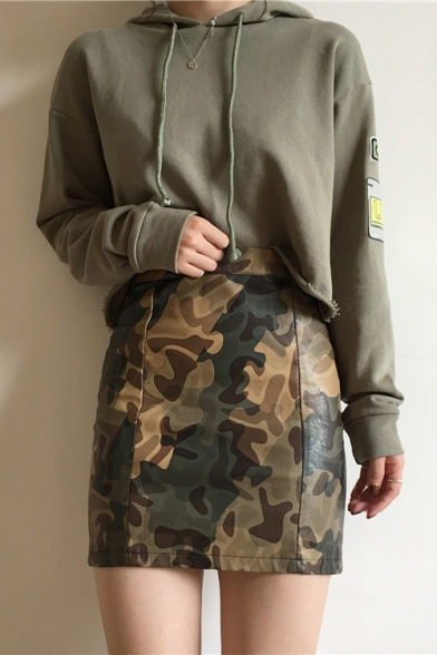 New Stylish Women's Badge Patched Long Sleeve Drawstring Hood Army Green Hoodie