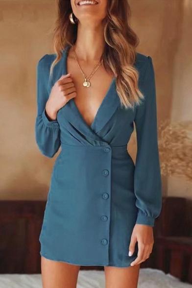New Trendy Simple Plain Lapel Collar Long Sleeve Button Down Mini Sheath Blazer Dress for Women