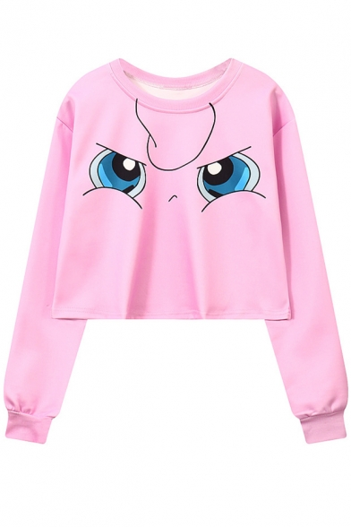 Pink Cartoon Comic Eyes Printed Round Neck Long Sleeve Cropped Sweatshirt