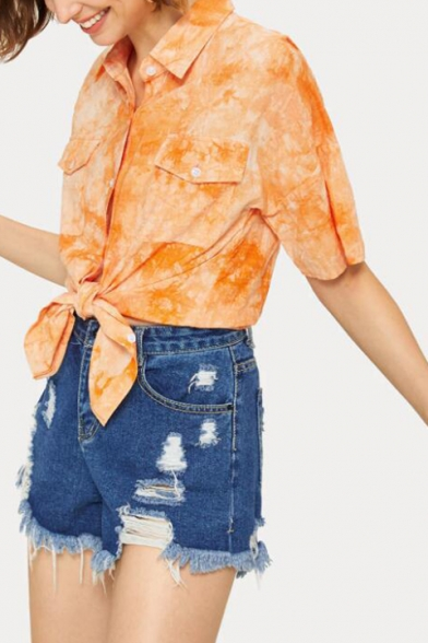 Stylish Yellow Tie Dye Short Sleeve Flap Pocket Chest Casual Loose Button Down Shirt