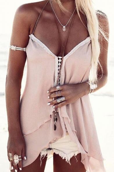 Summer Holiday Beach Pink Halter V-Neck Hollow Front Sleeveless Chiffon Cami Top
