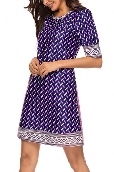 Summer Popular Chevron Stripe Pattern Round Neck Short Sleeve Mini Casual Shift Dress