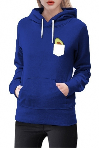 Trendy Avocado Pocket Printed Long Sleeve Drawstring Hoodie, Blue;burgundy;green;pink;light gray, LM530950