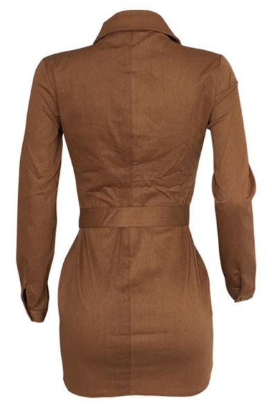 Trendy Brown Lapel Long Sleeve AUTHE Letter Patchwork Button Front Tie Waist Mini Shirt Dress