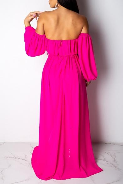 Women's Elegant Off the Shoulder Long Sleeve Plain Split Detail Floor Length Beach Dress