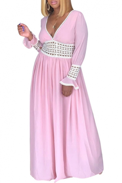 Women's Fashion V-Neck Ruffle Long Sleeve Plain Cutout Detail Maxi Shift Pink Dress
