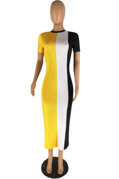Women's Fashionable Round Neck Short Sleeve Stripes Printed Colorblock Midi Shift Dress