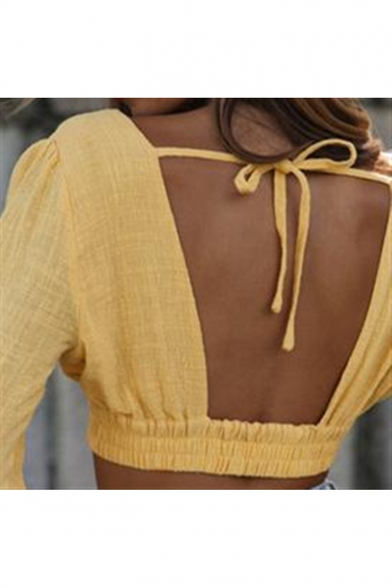 Women's Hot Popular Sexy Plunging V-Neck Long Sleeve Yellow Blouse Top