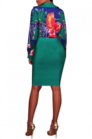 Women's Hot Sale Floral Print Lapel Collar Long Sleeve Button-Front Mini Shirt Dress