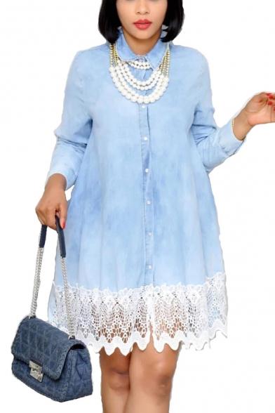 Women's Hot Sale Long Sleeve Collared Plain Button-Front Lace Hem Plus Size Mini Shirt Light Blue Dress
