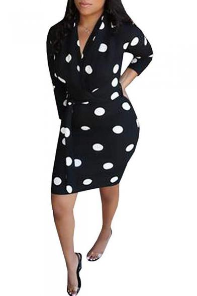 Women's New Trendy V Neck Polka Dot Printed Mini Bodycon Dress