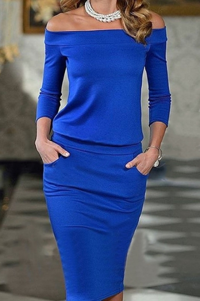 Womens Elegant Solid Color Off the Shoulder Long Sleeve Midi Pencil Dress