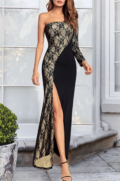 Womens Sexy One Shoulder Long Sleeve Chic Lace Panel Split Side Maxi Bodycon Party Dress