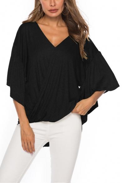 Womens Stylish Simple Plain Ruffled Sleeve V-Neck Twist Hem Casual Loose T-Shirt