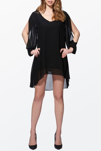 Womens Summer Basic Simple Plain Black V-Neck Hollow Out Sleeve Mini Chiffon Dress