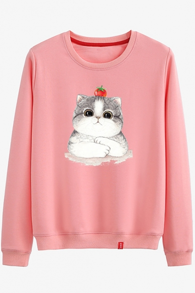 Cartoon Tomato Cat Printed Round Neck Long Sleeve Cotton Sweatshirt