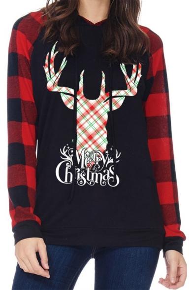 Christmas Deer Printed Plaid Long Sleeve Womens Slim Fit Drawstring Hoodie