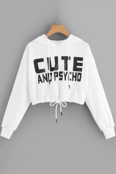 Cool Letter CUTE AND PSYCHO Pattern Long Sleeve Drawstring Hem Crop White Hoodie