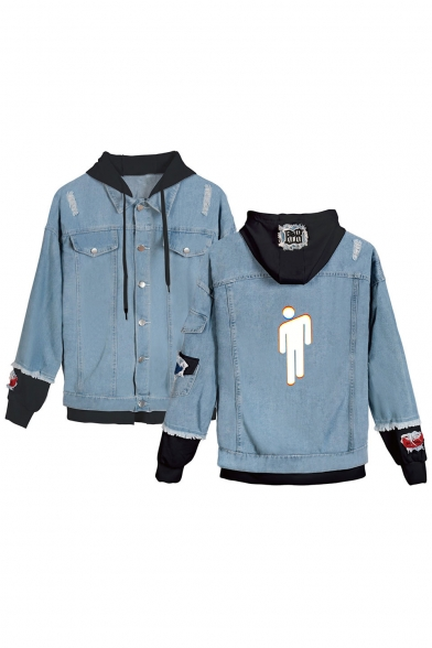 Cool Unique Puppet Figure Print Hooded Long Sleeve Fake Two-Piece Ripped Blue Denim Jacket