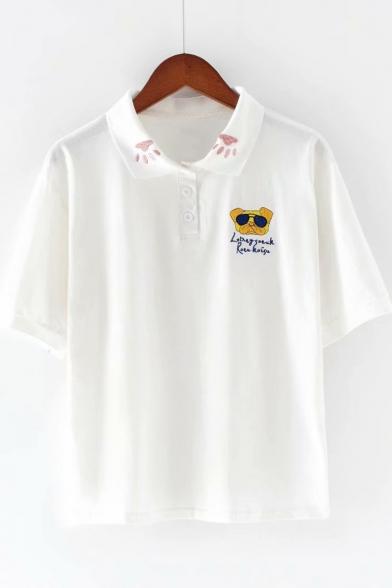 Cute Cartoon Dog Embroidery Turn-Down Collar Short Sleeve Cotton Loose Polo Shirt for Girls