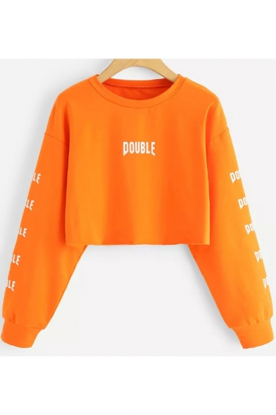 DOUBLE Letter Round Neck Long Sleeve Cropped Sweatshirt
