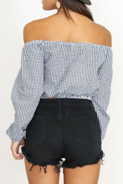 Fashion Black and White Plaid Printed Off the Shoulder Long Sleeve Button Front Cropped Blouse Top