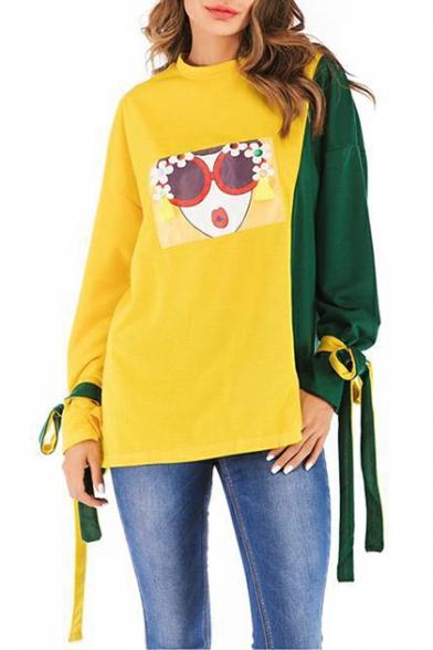 Fashion Cartoon Girl Pattern Two-Tone Colorblock Bow-Tied Cuff Long Sleeve Yellow Sweatshirt