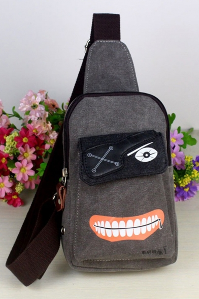Fashion Cosplay Ghoul Printed Grey Canvas Crossbody Chest Bag 23*17*4 CM