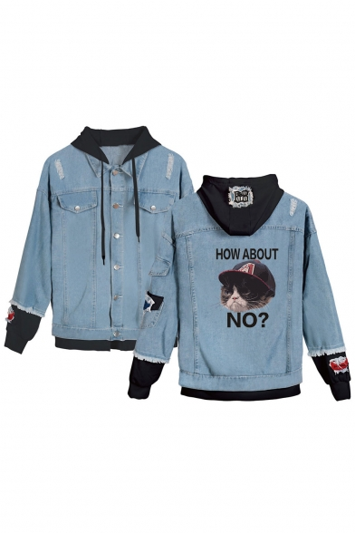 Funny Letter HOW ABOUT NO Grumpy Cat Patched Hooded Ripped Long Sleeve Button Down Blue Denim Jacket