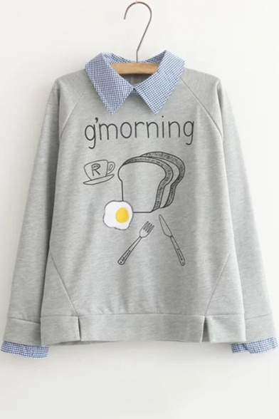 G'MORNING Letter Toast Omelette Coffee Fork Printed Fake Two Pieces Plaid Lapel Long Sleeve Sweatshirt