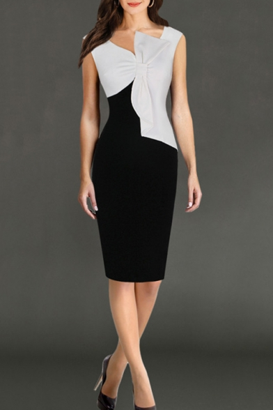 Hot Fashion Chic Bow-Knotted Front V-Neck Sleeveless Black and White Two-Tone Pencil Dress