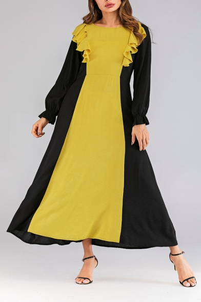 Hot Fashion Round Neck Long Sleeve Colorblock Printed Ruffle Detail Maxi Yellow Dress