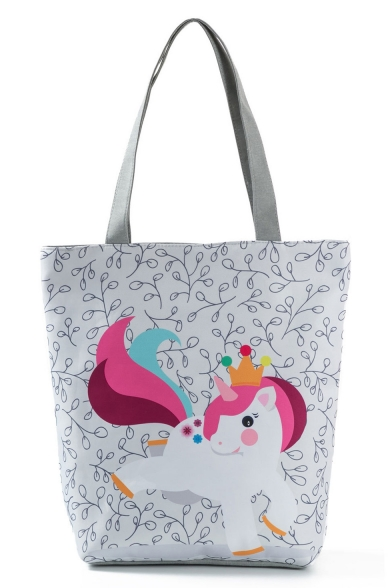 Hot Fashion Unicorn Printed White Shoulder Tote Bag 27*11*38 CM