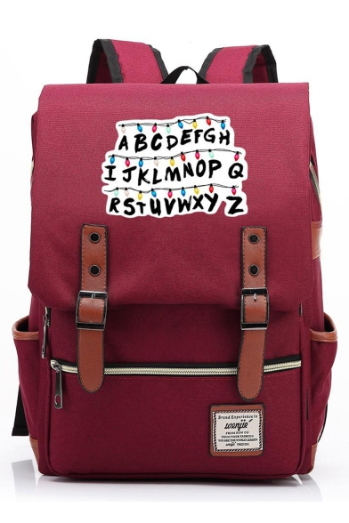 Large Capacity Letter Print Belt Buckle Laptop Bag Travel School Backpack 29*13.5*43 CM