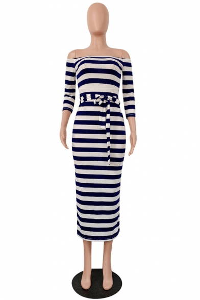 Navy and White Colorblock Stripe Off the Shoulder Three-Quarter Sleeve Bow Tie Maxi Pencil Dress