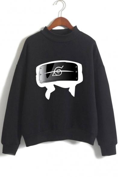 New Fashion Comic Logo Printed Mock Neck Long Sleeve Pullover Sweatshirt