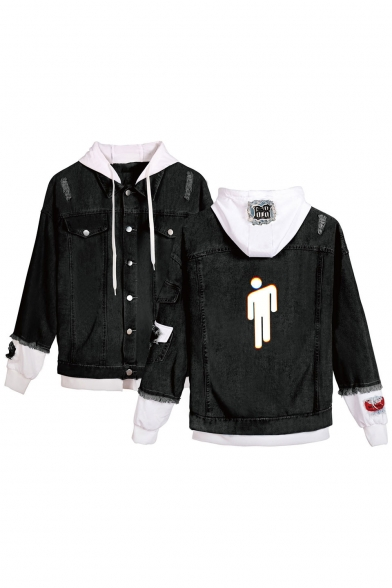 New Stylish Cool Puppet Figure Printed Long Sleeve Hooded Ripped Black Button Down Denim Jacket