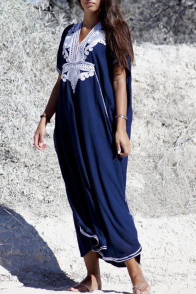 New Stylish V-Neck Short Sleeve Floral Print Maxi Loose Beach Navy Dress For Women