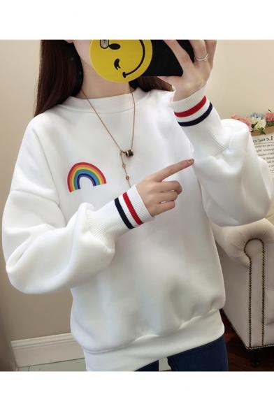 Rainbow Stripe Print Round Neck Long Sleeve Sweatshirt