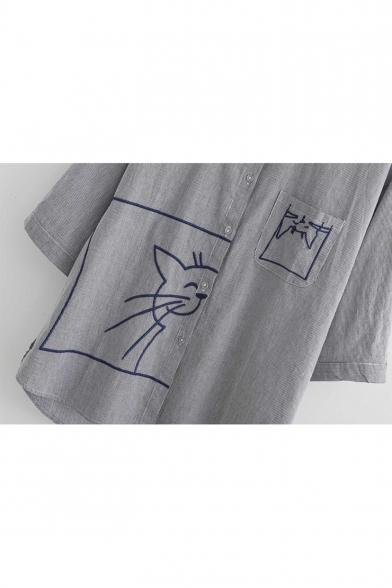 Simple Cute Cartoon Cat Embroidery Half Sleeve Casual Loose Button Shirt