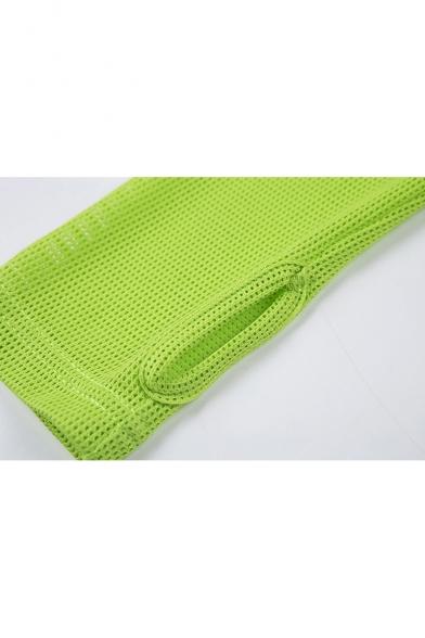 Stylish Flourescent Green Sexy V-Neck Mesh Panel Long Sleeve Split Side Mini Bodycon Club Dress