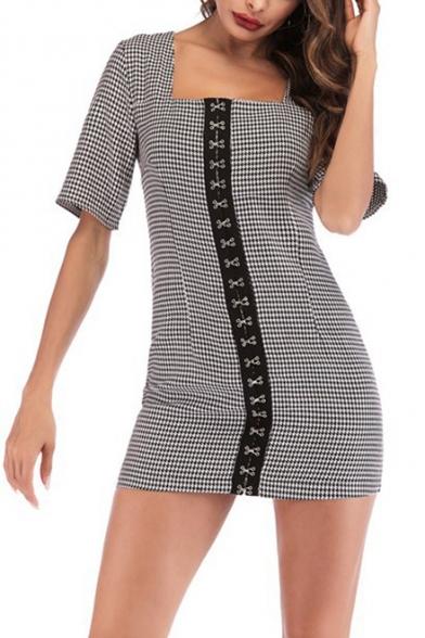 Stylish Houndstooth Pattern Vintage Square Neck Short Sleeve Black Mini Bodycon Dress