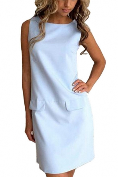 Summer Chic Office Lady Simple Plain Round Neck Sleeveless Mini Sheath Dress