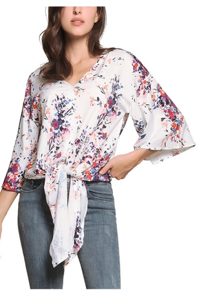 Summer New Trendy Floral Printed V-Neck Tied Hem Casual Loose Chiffon Blouse