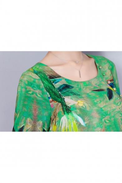Summer Trendy Green Pattern Round Neck Three-Quarter Sleeve Midi Casual Silk Dress