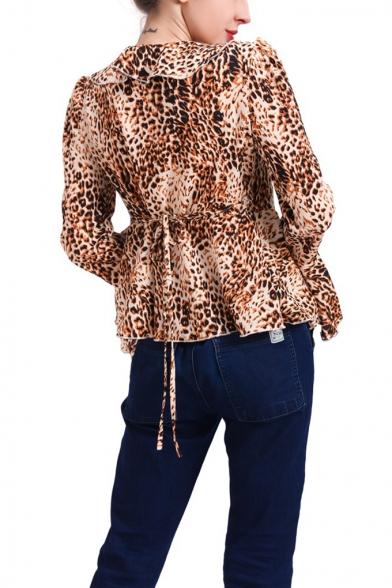 Trendy Ruffled Surplice V-Neck Flared Long Sleeve Leopard Print Blouse